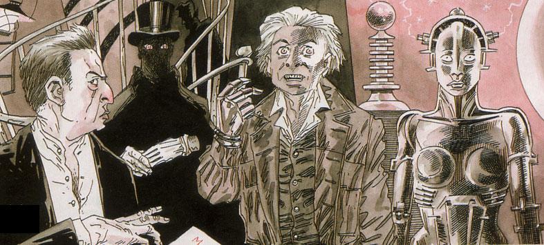 De gauche à droite : Fantomas, Nyctalope, Arsène Lupin, Jean Robur