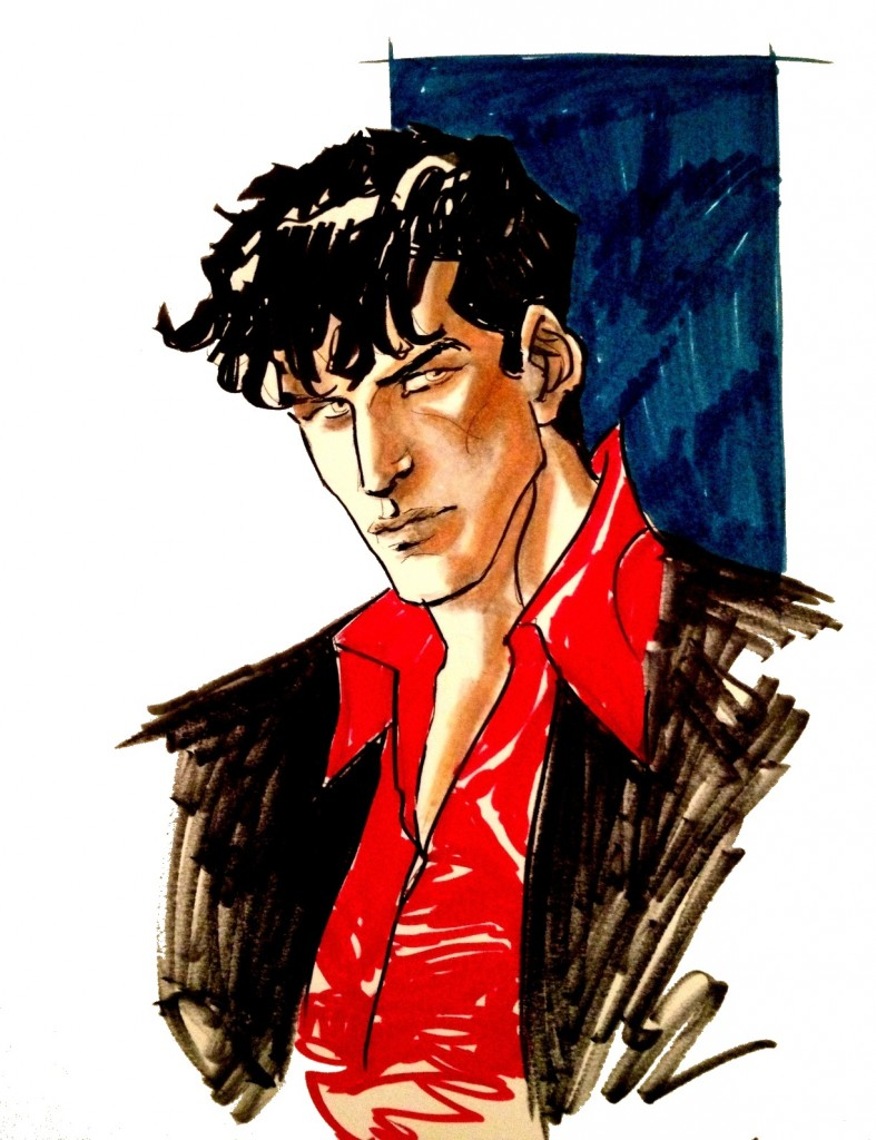 Chemise rouge et oeil de braise. LE costume de DD..