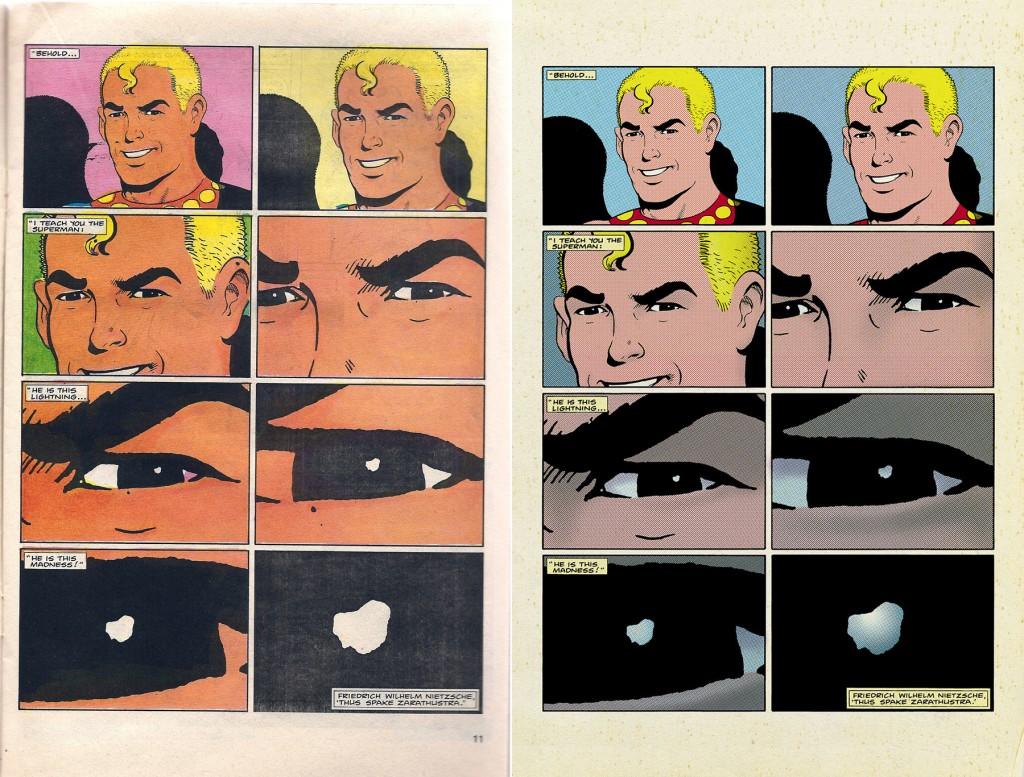 Une autre comparaison en ce qui concerne la nouvelle mise en couleur. L'occasion d'admirer les superbes découpages du créateur de Watchmen !