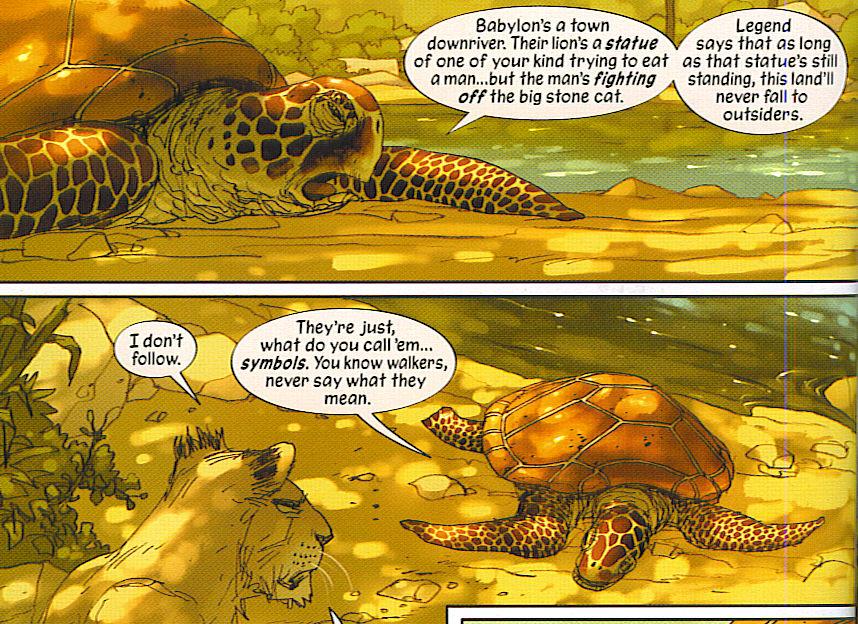 Une tortue marine près d'un fleuve...