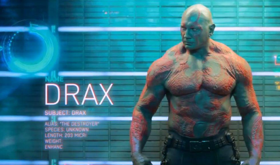 Drax: Un alien succeptible hermétique à toute forme de second degré. Rien à voir avec le comic book!