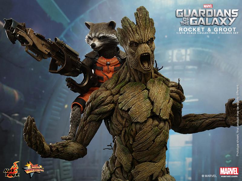 Rocket Raccoon & Groot: Les deux vraies stars du film sont deux personnages de synthèse (ici en figurines)!