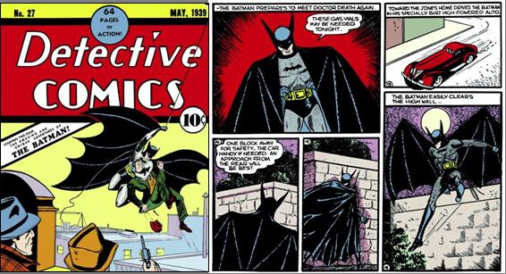 En 1939, le Batman d'origine par Bob Kane
