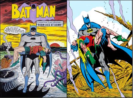 Batman par Sheldon Moldoff (à gauche) et Jim Aparo (à droite)