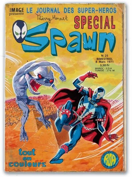 Cette fausse couverture est parue en 2011 dans l'ultime numéro en kiosque de Spawn