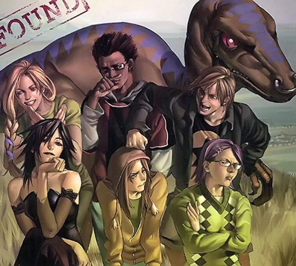 Les Fugitifs, de gauche à droite. En haut : Karolina, Alex et Chase. En bas : Nico, Molly et Gertrude. Le dino s'appelle Dentelle !