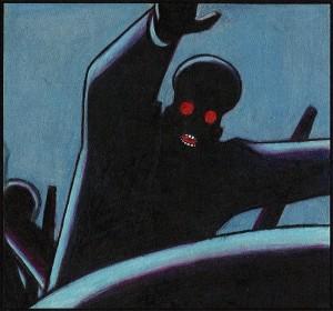 Une silhouette noire aux yeux rouge, menaçante