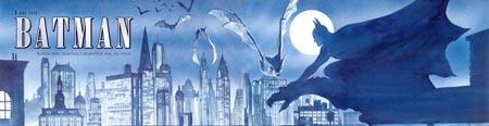 Extrait d'une double planche racontant les origines de Batman, en prologue du récit