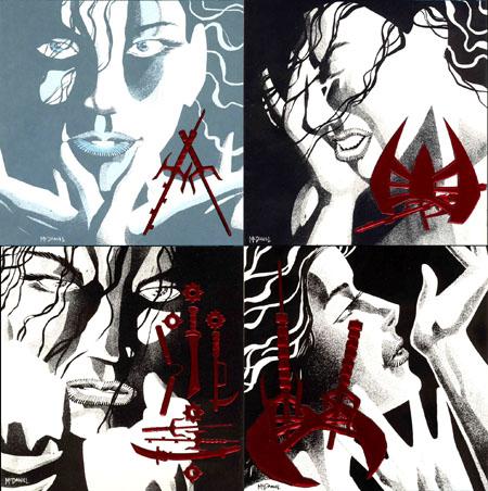 Illustrations des back-covers : notez les incrustations en relief rouge métallique, un gimmick typique des années 90…