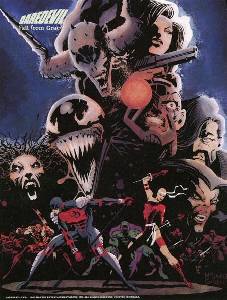 Illustration utilisée pour le poster inséré dans le numéro 325, de bas en haut : Hellspawn, Silver Sable, Erynis, Venom, Siege, John Garrett, Morbius, le clan Snakeroot, DD et Elektra. Ca en fait du monde à caser !