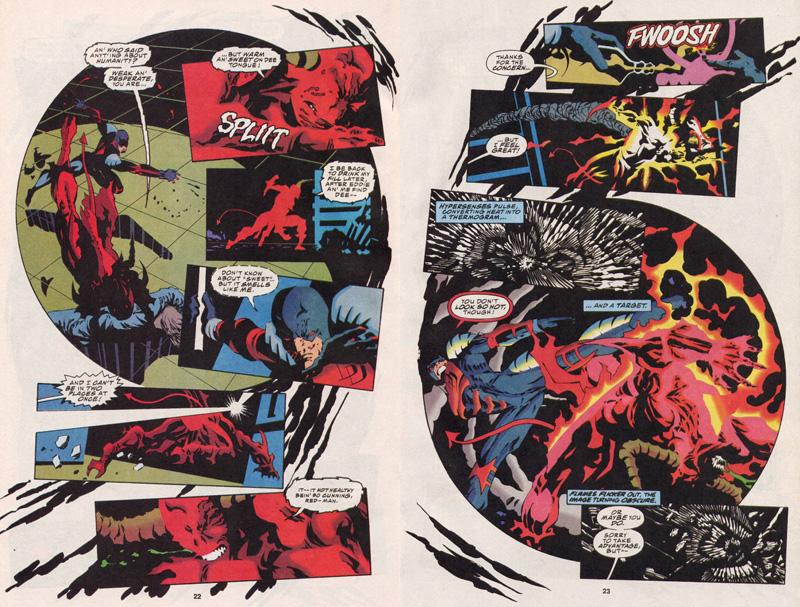 """Hellspawn, le Doppleganger est issu du crossover """"Infinity War"""". Indétectable pour le sens radar de Daredevil, ce dernier doit faire preuve d'inventivité pour le localiser…"""