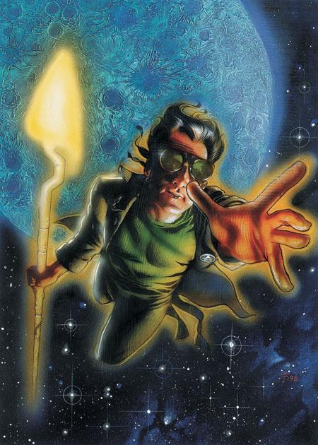 Starman tire ses pouvoirs de son bâton cosmique, une invention développée par son père