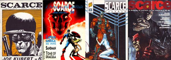 Evolution de la maquette de couverture de Scarce au fil des numéros (6-26-46-62), avec des illustrations de Joe Kubert, Olivier Vatine, Michael Bair et Alex Maleev