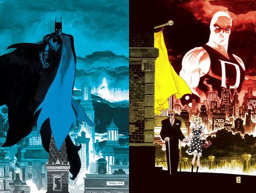 Batman surplombant Gotham et Matt Murdock aux côtés de Karen Page: la légende urbaine et l'homme de la rue, superbement illustrés par Tim Sale