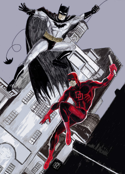 Un dessin en hommage à mes deux super-héros préférés