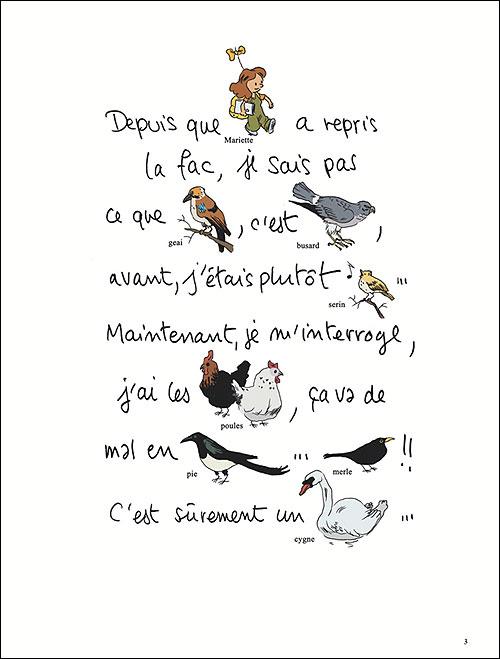 Une première page toujours dans le style des livres pour enfants, où certains mots sont remplacés par des illustration