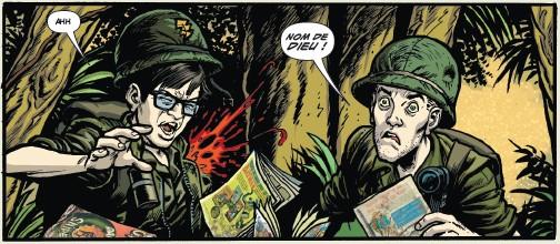 Un clin doeil à Fax From Srajevo pour un oeil expert : un type se fait flinguer en lisant des comics