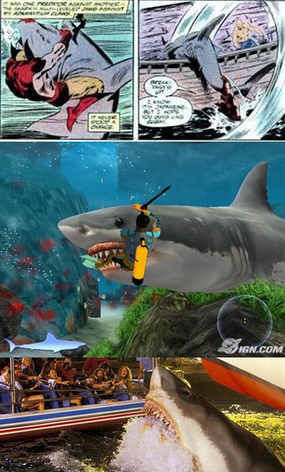 Bruce, une icône pop ; de bas en haut attraction aux studios Orlando, en jeu video sur Playstation et contre Wolverine !