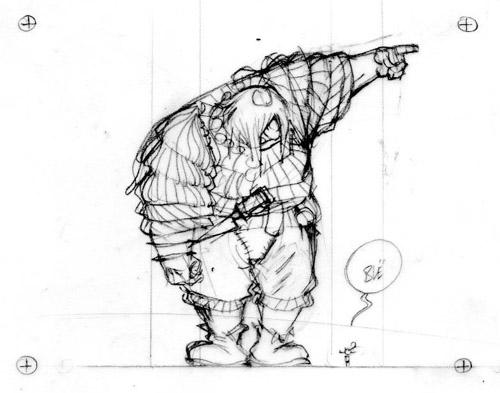L'Ogre et le lutin – dessin préparatoire