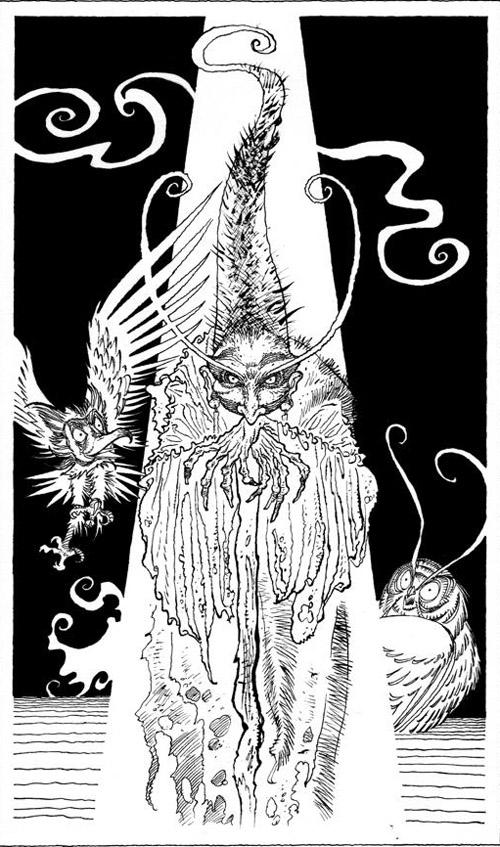 Une rareté : un dessin de la sorcière Malvéliande, avec des aplats noirs ! réalisé pour un ex-libris
