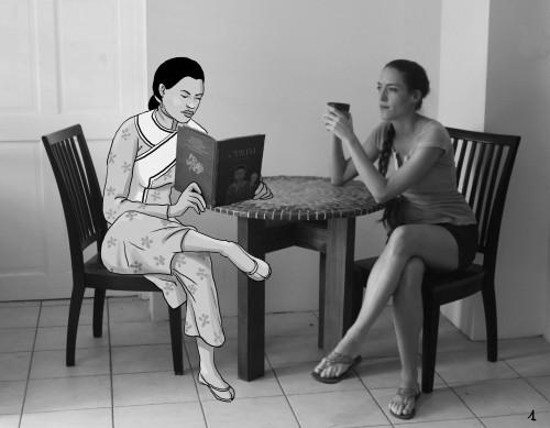 Laure en perpétuelle conversation avec sa création