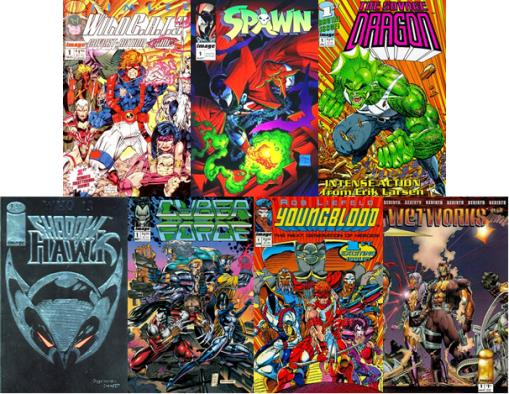WildCats, Spawn, Savage Dragon, ShadowHawk, Cyberforce, Youngblkood, Wetworks