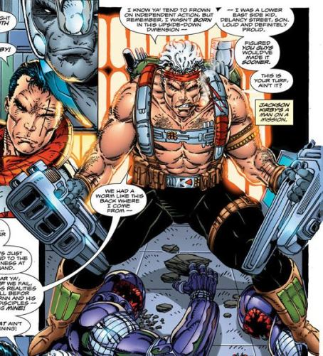 Jack Kirby en superhéros (interprétation de Rob Liefeld)