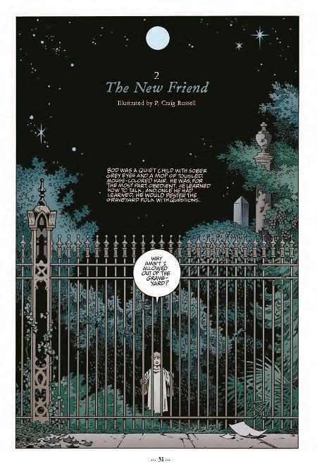 Les superbes pages d'ouvertures des chapitres. Délicieux encarts poétiques reprenant le texte initial de Neil Gaiman. (dessin de P. Craig Russell)