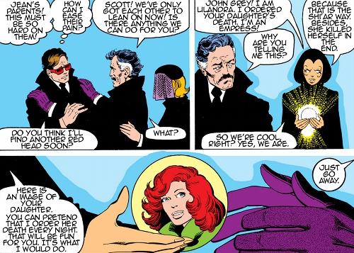 Toute l'ambiguïté de Lilandra : consoler les parents de celle dont elle a indirectement causé la mort....