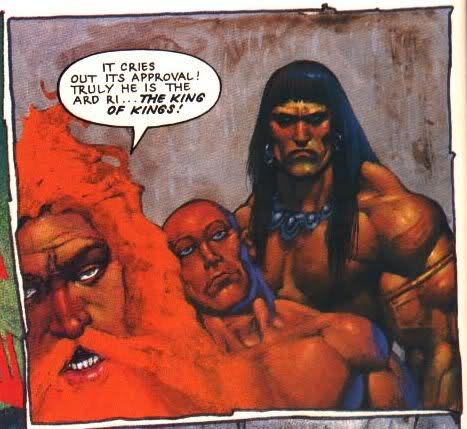 Conan regardant Sláine d'un drôle d'air