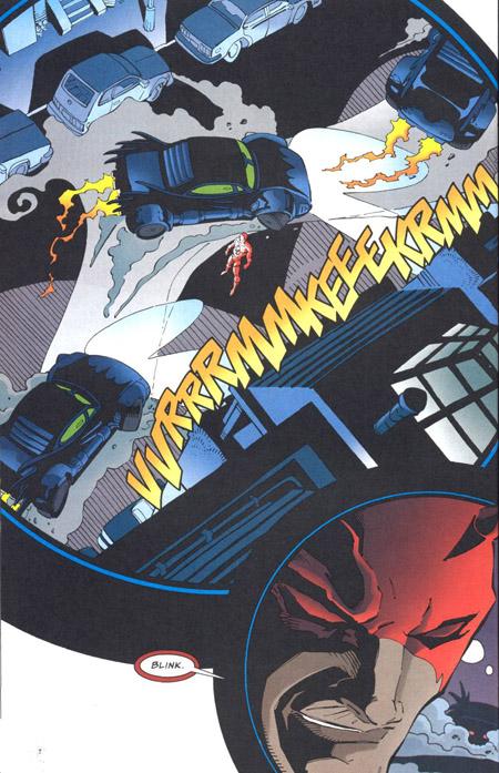 Scène typiquement gratuite de ce genre de crossover, Bats et DD jouent à celui qui se dégonflera le premier…