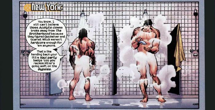 Hop, une suggestion sur lhomosexualité de Colossus. La finesse de Millar aussi douce que du savon....