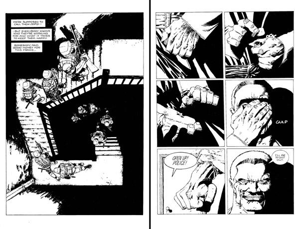 Planches du début de la série, Miller n'a pas encore tout à fait adopté son style épuré et utilise des compositions évoquant ses anciennes œuvres, ici les escaliers similaires à ceux d'Elektra Lives Again