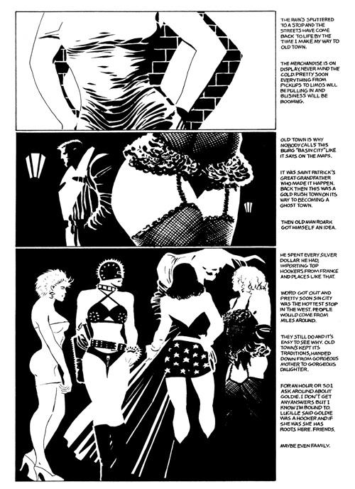 Marv rend visite aux filles de la vieille ville et Miller place un de ses nombreux clin d'œil aux comics mainstream, en l'occurrence Wonder Woman