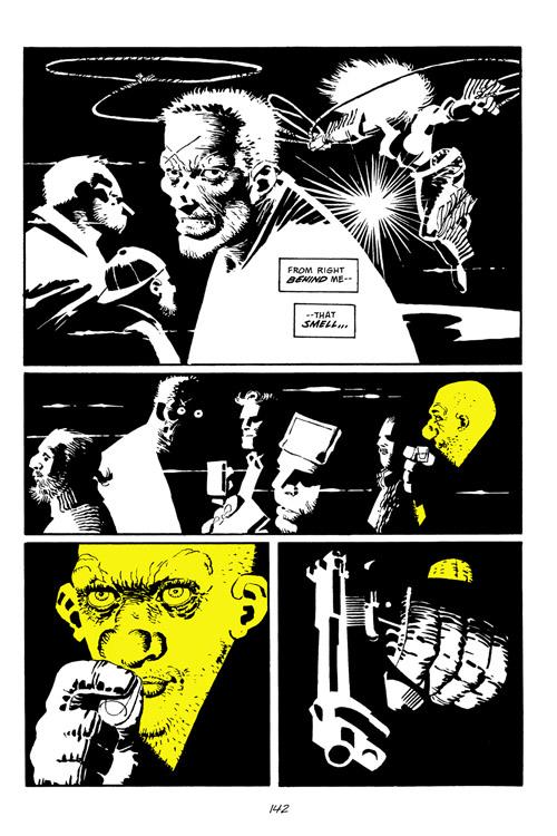 """Miller s'autorisait parfois des entorses au noir et blanc intégral, en ajoutant une teinte supplémentaire, l'exemple le plus notable étant le """"Yellow Bastard"""""""