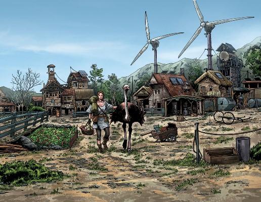Dessin hors épisode pour montrer l'environnement de la ville de Chooga