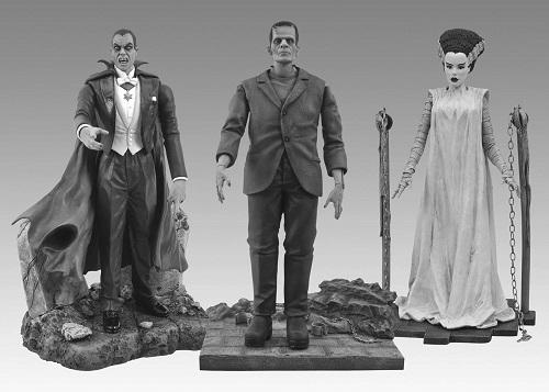 Dracula, Frankenstein et sa fiancée. Trois luxueuses figurines en GRIS, directement issues du studio Universal dans les années 30!