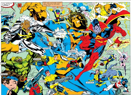 Exemple typique d'une planche de X-men estampillée 90's (par Jim Lee).Heu… Quelqu'un a le mode d'emploi?