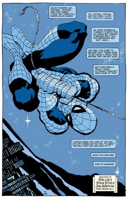 La splendide première page de Spiderman: Bleu. Tout est bleu!