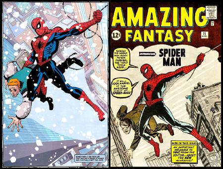 Une constante made in Marvel: Un hommage au premier épisode historique de 1962 (époque Stan Lee & Steve Ditko), ici particulièrement cohérent sous les pinceaux de Tim Sale
