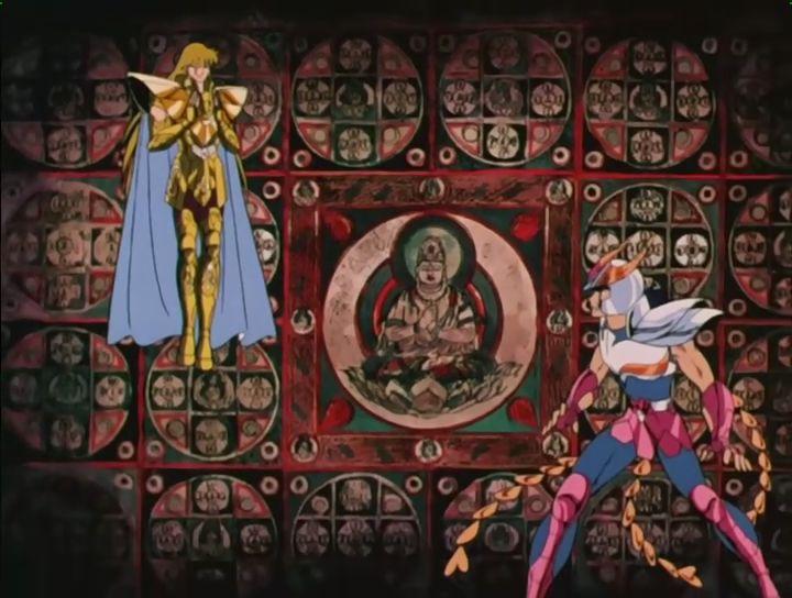 Lincroyable métissage de la série : dans un temple grec sffraontent un boudhiste vétu dune armure catholique et un japonais chevalier du Phénix, une légende Ethiopienne !