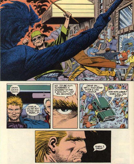 Quand des émeutes éclatent à Hub City, Vic Sage n'a pas l'aura d'un Dark Knight pour rallier les foules et se limite à des sauvetages ponctuels