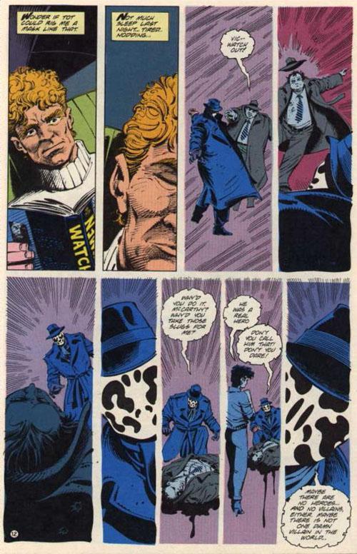 Sage s'endort en lisant Watchmen et se rêve en Rorschach… mais sans voir le monde en noir et blanc.