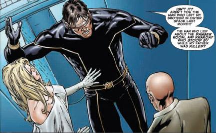 Amer, écrasé sous les responsabilités et déçu, Scott Summers tue le père en mots avant de la faire en acte.