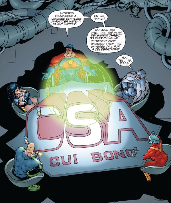 «Cui bono»: une devise sibylline pour un équipe régnant sur un monde où le profit passe avant tout (mais non, je vous assure que c'est une Terre alternative…)