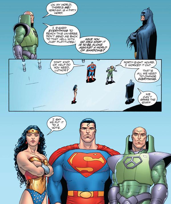 Les réticences de Batman évoquent la frilosité du monde occidental face aux problèmes du reste de la planète…