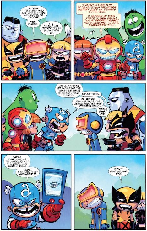 Expressions de visage exagérées jusqu'à déformer le fentes d'Iron Man