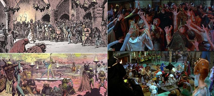 Thorgal chez Edgar Alan Poe? A droite: Le Masque de la Mort Rouge version ciné, par Roger Corman.