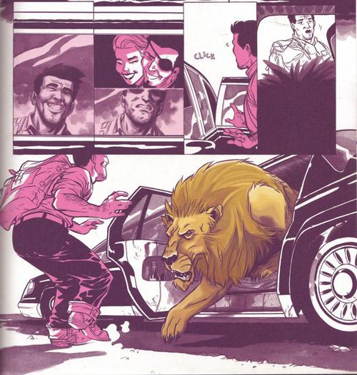 Un lion qui descend d'une limousine, normal…