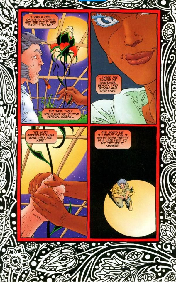 Le petit Prince offrait une rose à son mouton, Ororo offre une fleur hybride à son glouton ! Un rappel que Wolverine n'était pas qu'un titre bourrin !